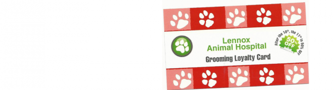 Lennox Animal hospital grooming loyalty card for pet owner