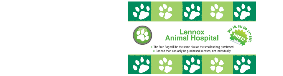 Lennox Animal hospital pet food discount - buy 10 get 11th free
